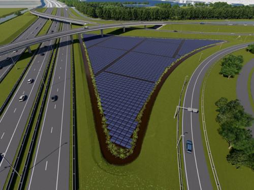 Voor de RijnlandRoute bouwt Croonwolter&dros een zonnepark met energieopslag waarmee de CO2-uitstoot in een periode van 25 jaar met ruim 20.000 ton afneemt.