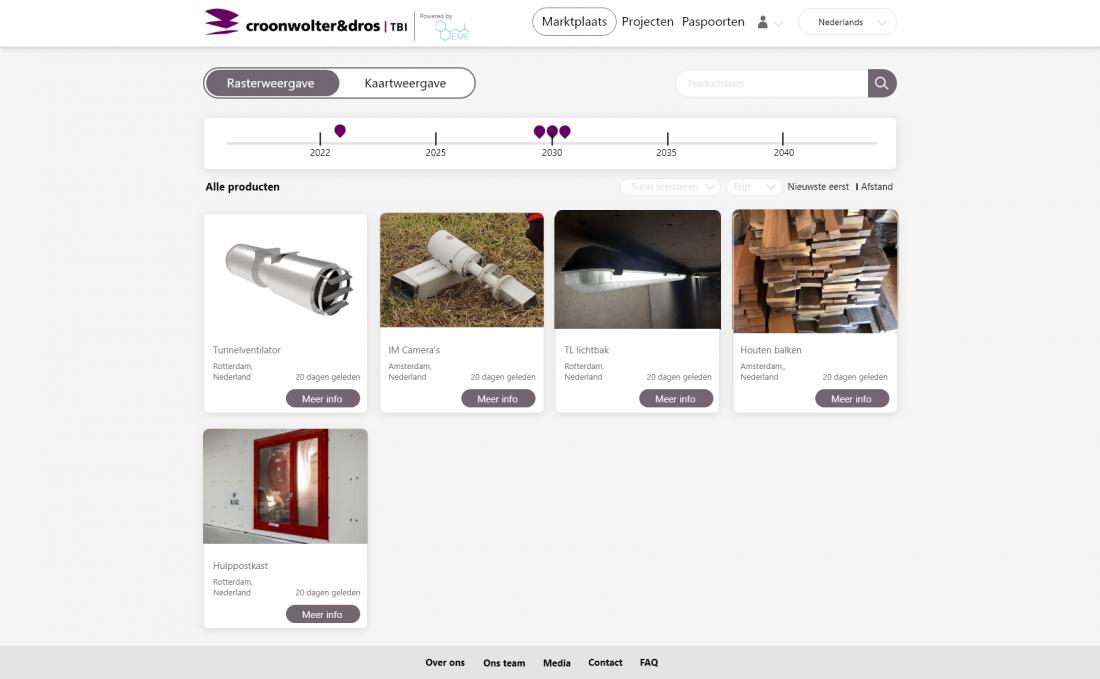 Het materialenpaspoort is een soort 'Tinder voor materialen. Een platform met vraag en aanbod van materialen die uit de keten komen en die er weer in terug kunnen. Hiervoor is het Exess Materials Exchange (EME) een goed voorbeeld.